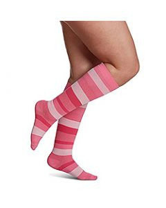 Small Image Sigvaris Womens Microfiber 143C Pink Striped Knee-High Compression Socks