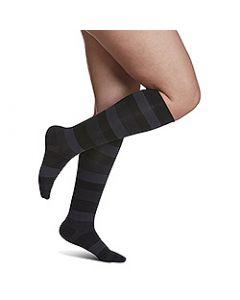 Small Image Sigvaris Womens Microfiber 143C Onyx Stripe Knee-High Compression Socks