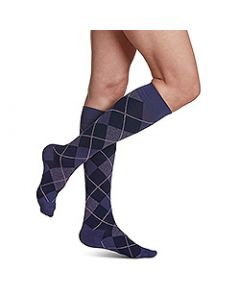 Small Image Sigvaris Womens 143C Purple Argyle Knee-High Compression Socks