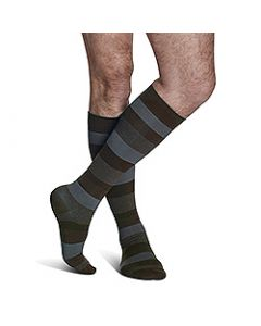 Small Image Sigvaris Mens Navy Stripe Microfiber 183C Knee-High Compression Socks