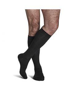 Small Image Sigvaris Mens Sea Island 191C Black Knee-High Compression Socks 15-20 mmHg